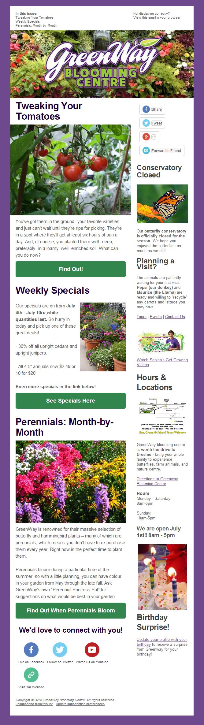 Garden Centre Kitchener Subscribe To Greenway Blooming Centres Email Newslettergreenway
